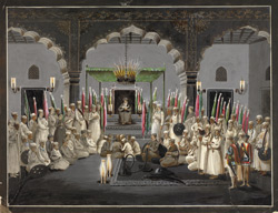 The Muharram Festival. Asaf al-Daula, Nawab of Oudh, listening at night to the maulvi reading from the scriptures